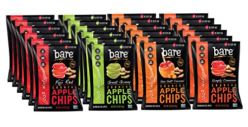 Bare Natural Apple Chips .53oz Variety Pack, Gluten Free + Baked, 24 Count