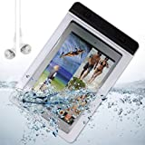 Waterproof Dry Pouch Case for Ipad Mini / Google Nexus 7 / Dell Venue 7 + White VanGoddy Headphones With MIC (White)