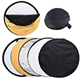 24 (60cm) 5-in-1 Portable Photography Studio Multi Photo Disc Collapsible Light Reflector (Gold, Silver, Black, White and Translucent)