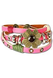 SilberDream leather bracelet pink with rivets and a flower for female, teens and girls genuine leather LA2913P