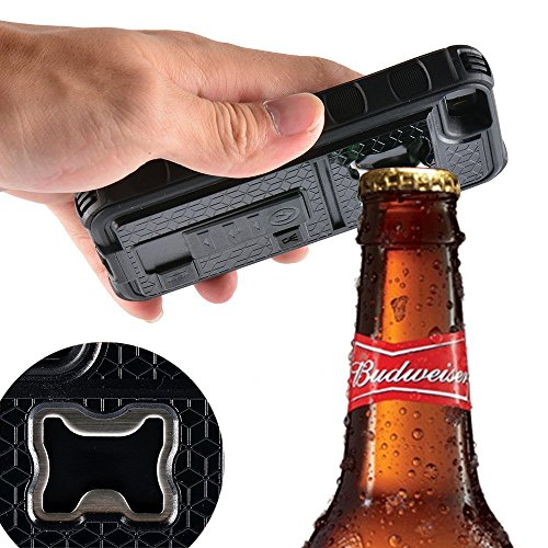 AnyShock Multi-tool Cigarette Lighter / Beer Bottle Opener/ Camera Stable Tripod Shockproof Defender Case Cover for iPhone 5/ 5S (Black)