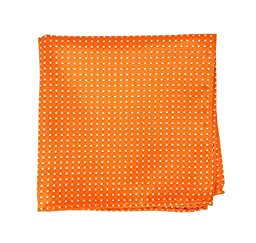 100% Woven Silk Tangerine Pindot Patterned Pocket Square