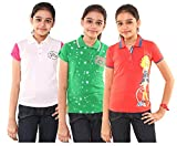 Menthol Girls Polo Shirt Combo (Pack of 3) (9-10 Years, White Green Poppy)
