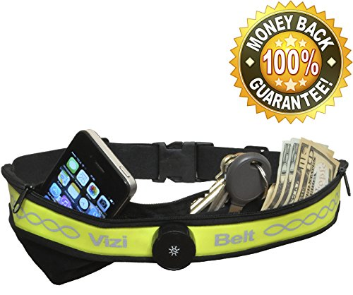 Vizi Belt Top Rated LED Light Running Belt in America-Non Bouncing Waist Pack For iPhone 6 And Other Smartphones-Highest Quality-Two Pockets With Reflective Print For Extra Safety-Endorsed by Pro