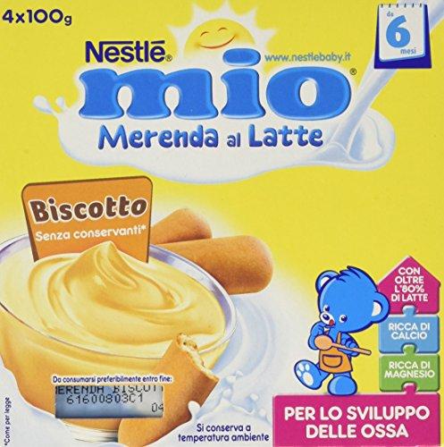 Nestlé Mio - Merenda al Latte Biscotto, da 6 Mesi - 3 confezioni da 4 Vasetti di plastica da 100 g [12 vasetti, 1200 g]