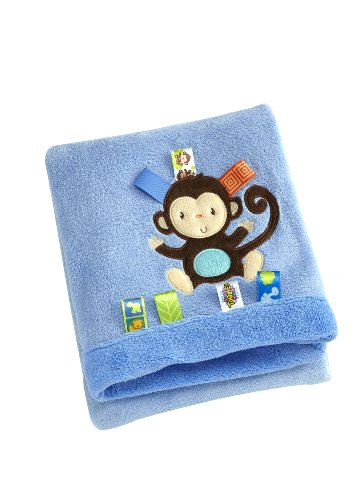Taggies Appliqued Coral Fleece Blanket, Fun In The Jungle (Monkey) front-573689