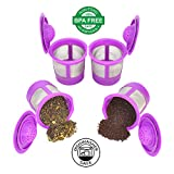 Delibru 4Pack Reusable K-Cups for Keurig 2.0 & 1.0 Machines. Reusable kcup, k cup reusable filter, keurig coffee filters, refillable universal kcup. Compatible With Keurig Brewers.