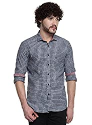 D'INDIAN CLUB Men's Grey Checkered Cotton Casual Shirt