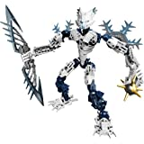 Lego Year 2009 Bionicle Glatorian Legends Dvd Series 7 Inch Tall Figure Set # 8988 : White Gelu With Ice Slicer...