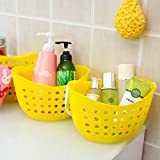 Multipurpose Storage Basket(3 pcs) bathroom plastic kitchen storage baskets Yellow