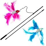 2 Fish and Feather Teaser and Exerciser For Cat and Kitten - Cat Toy Interactive Cat Wand