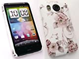 EMARTBUY HTC DESIRE HD ( NOT DESIRE ) TEXTURED FLORAL WHITE CLIP ON PROTECTION CASE/COVER/SKIN
