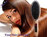 3-in-1 Electric Hair Straightening Brush-Magic Detangling Hair Iron Comb-Straighten Dull Frizz Curly Hair into Smooth Silky Straight Hair with Anion Hair Care- Get Pro Salon Styling Result