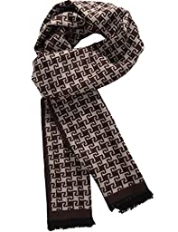 SSLR Men\'s Cashmere Feel Colorful Striped Scarf (One Size, Brown (1805))