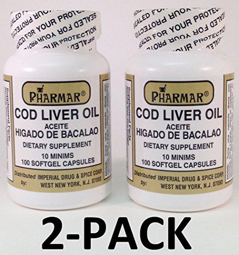 Aceite De Higado De Bacalao Capsules 100's Cod Liver Oil 2-PACK (Capsulas De Omega 3 compare prices)