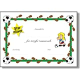 Pack of 6 x homemade* A5 Star player / Good football certficiate (girl) - Reward good play with certificates. (Boy's certificates also available), NOT laminatedby 123 Web Art