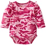 Carhartt Baby-Girls Newborn Printed Long Sleeve Body Shirt Camo, Rose Bloom, 6 Months