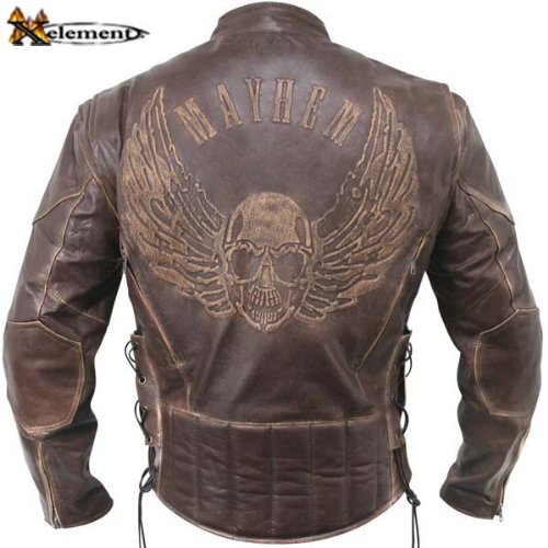 Men's Premium Brown Distressed Leather Flying Skull Racer Jacket - Size : XL