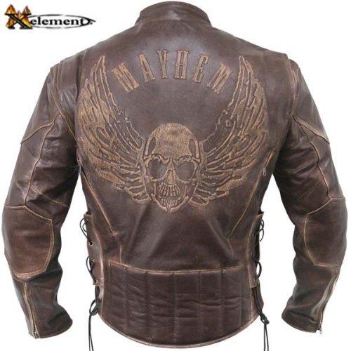 Men's Premium Brown Distressed Leather Flying Skull Racer Jacket - Size : XL