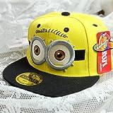 ミニオンminios帽子野球帽スナップバックミニオンキャップ帽子スナップバック 50-55cm怪盗グルーのミニオン危機一発帽子コスチューム用小物 調節可能(50-55cm,黄ー両目)