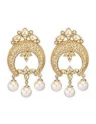 Amethyst By Rahul Popli White Gold Plated Stud Earrings - B00OYSFFEA