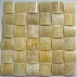 Honey Onyx 2x2 Polished 3-Dimensional Pillow Mosaic Tiles