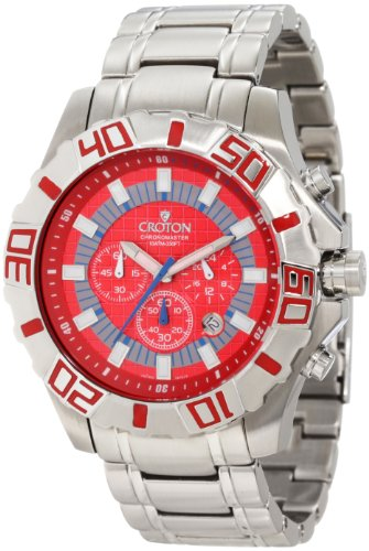 Croton Men's CC311307SSRD Eraganto Chronomaster Chronograph Red Checkerboard Dial Stainless Steel Watch
