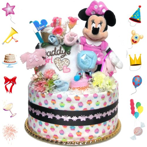 Cramming a lot of baby diaper cakes Disney Minnie mouse deals girls birth celebration s.