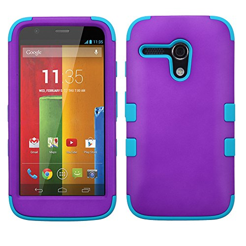 Thousand Eight(Tm) For Motorola Moto G Hard Plastic Dual Layer Tuff Shield Heavy Duty Protective Case + [Free Lcd Screen Protector Shield(Ultra Clear)+Touch Screen Stylus] (Tuff Rubberized Grape/Tropical Teal)