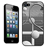 Fancy A Snuggle Tennis Court with Balls and Rackets Clip On Back Cover Hard Case for Apple iPhone 5 - Black/White
