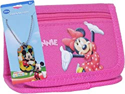 Minnie Mouse Pink Tri-fold Wallet & Charm Necklace