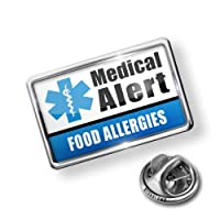 Pin Medical Alert Blue Food Allergies - Lapel Badge - NEONBLOND from NEONBLOND