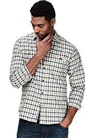 North Coast Pure Cotton Herringbone Checked Slim Fit Shirt
