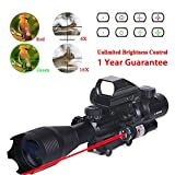 WhaleStone Tactical Rifle Scope for AR15 4-16x50EG Dual Illuminated with Holographic 4 Reticle Red and Green Dot Rifle Sight and Red Laser Sight for 22mm Weaver/Picatinny Rail Mount