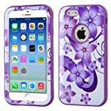 Product B00MP6BPFQ - Product title MYBAT iPhone 6 Verge Hybrid Protector Cover - Retail Packaging - Purple Hibiscus Flower Romance/Electric Purple