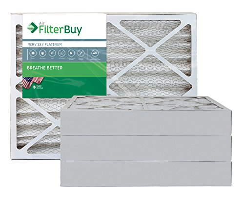 AFB Platinum MERV 13 20x25x4 Pleated AC Furnace Air Filter. Pack of 4 Filters. 100% produced in the USA. (20 X 25 Hepa Furnace Filter compare prices)