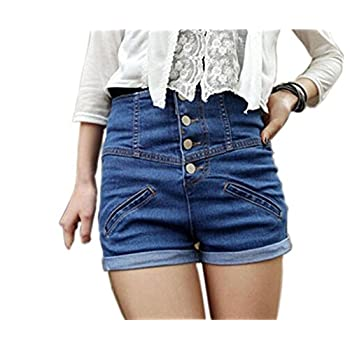 Sefon Womens Vintage Single Breasted High Waisted Jeans Shorts