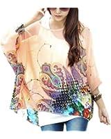 DJT Bohemian Hippie Batwing Sleeve Chiffon Blouse Loose Tee Shirt One size 14 16 18