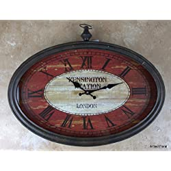 20 Kensington Station London Oval Wall Clock ~ Glass Faced