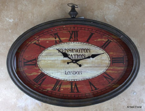 20 Kensington Station London Oval Wall Clock ~ Glass Faced