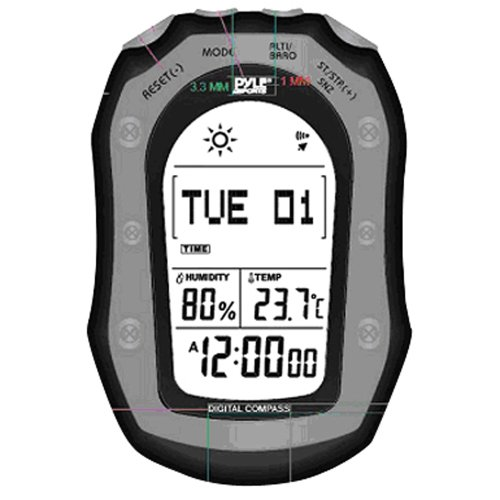 Pyle PSHWM22BK  Weather Station with Weather Forecast, 58 World Time, Temp, Altimeter, Barometer, Digital Compass, Black
