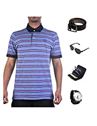 Garushi Blue T-Shirt With Watch Belt Sunglasses Cardholder - B00YML1BPQ