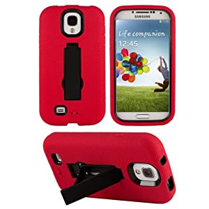 HHI Armor Case with Stand for Samsung Galaxy S4 - Black/Red (Package