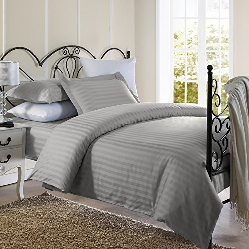 Best Prices! Ellington Home 1800 Series 3 Piece Damask Stripe Duvet Cover Set (Full/Queen, Silver)