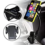 Nokia Lumia 635, Nokia Lumia 630, Nokia X2 Dual Sim, Nokia XL, Lumia In Car Flexible Phone Holder With Built In Charger, Lighter Port And USB Connections Exclusive to Elite Accessories