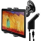 kwmobile KFZ Tablet Halterung für das Samsung Galaxy Note 10.1 (2014) - PKW Auto Halter mit Saugnapf in Schwarz + Ladegerät