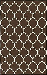 Brown Rug Modern Chic Trellis Design 3-Foot x 5-Foot Cotton Flat-Woven Lattice Dhurry