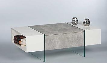 """Couchtisch """"FERRARA"""" Wohnzimmertisch Beistelltisch Tisch in Beton Optik Abs. Weiss"""