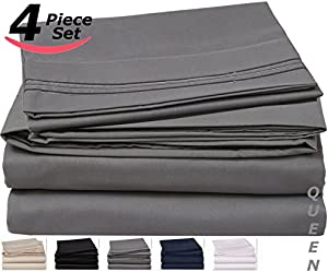 Queen Bed-Sheet-Set Grey - Brushed Velvety Microfiber -Luxurious, Comfortable, Breathable, Soft & Extremely Durable-Wrinkle, Fade & Stain Resistant - Hotel Quality By Utopia Bedding (Queen, Grey)