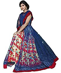 SK Creation Shilpa Shetty With Red Cobalt Blue Net Chiffon semi stiched anarkali suit